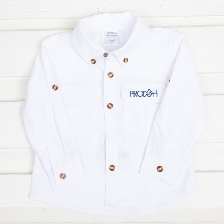 Vented Back Fishing Shirt Clean White