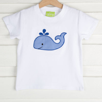 Whale Applique Short Sleeve Shirt White