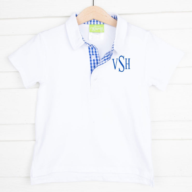 White Knit Polo with Royal Gingham Placket