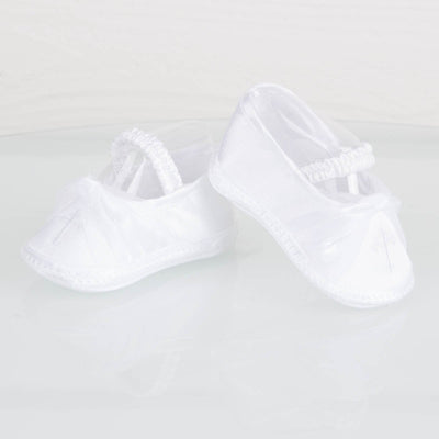 Cross Embroidered Crib Shoe White Satin
