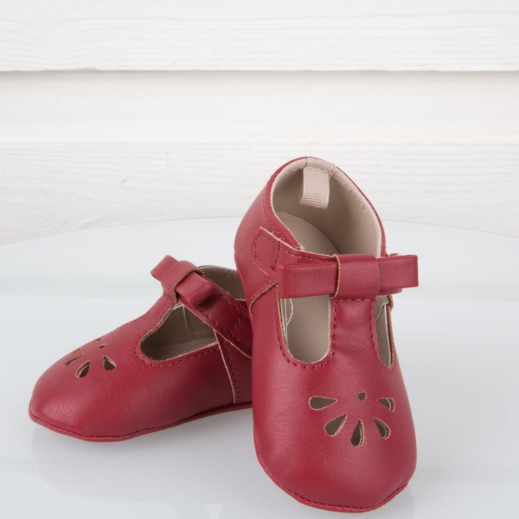 Red Leather Stitch-Out T-Strap Walking Shoe