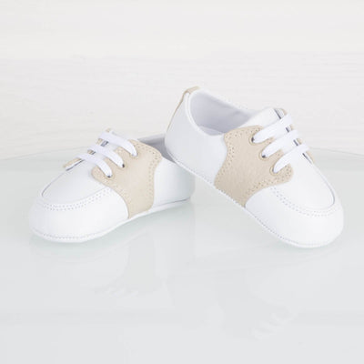 Tan and White Leather Saddle Shoe Crawler