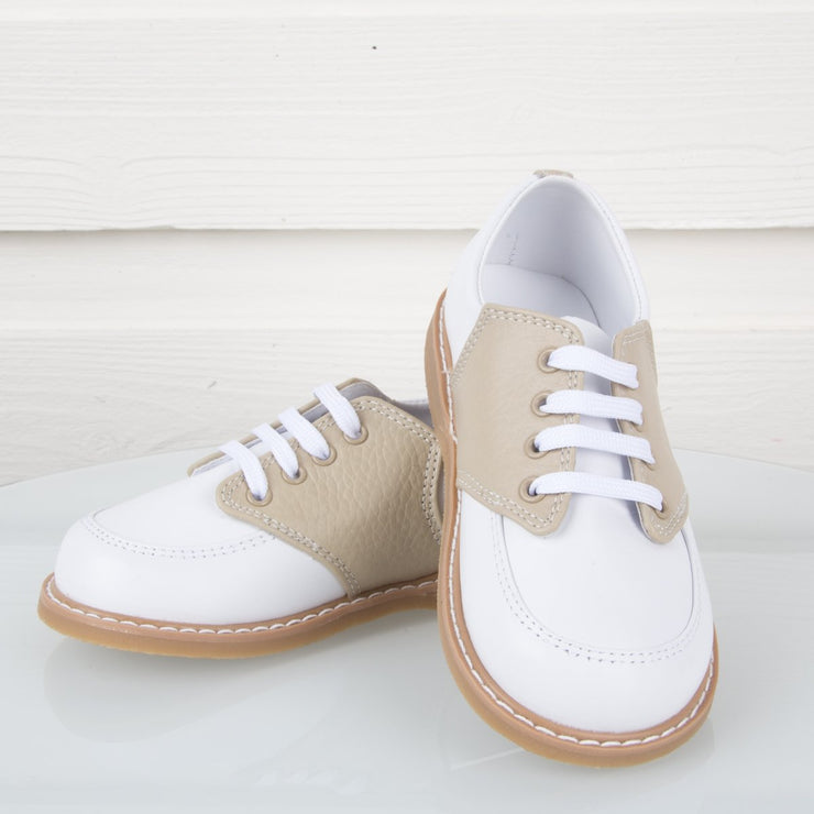 White and Tan Leather Saddle Oxford