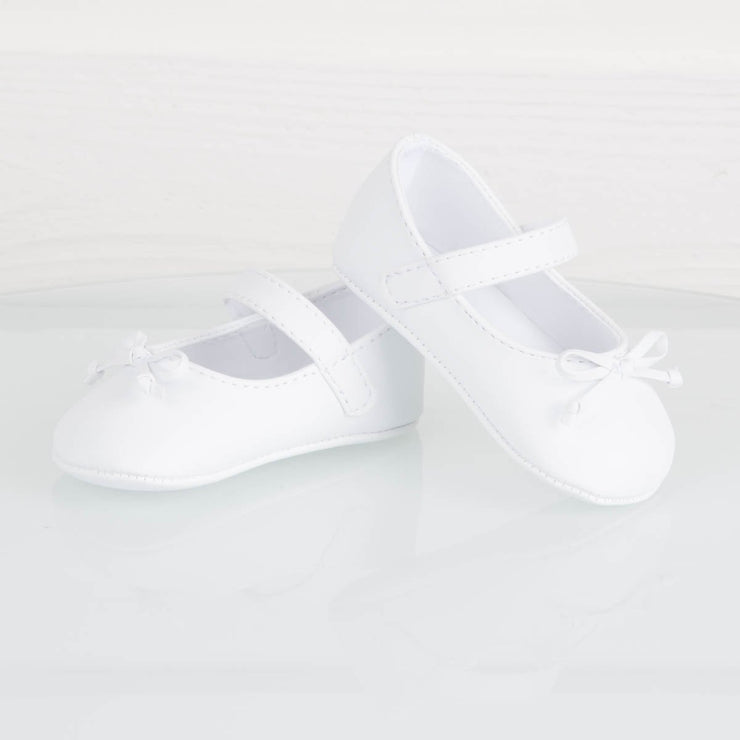White Skimmer Crawling Shoe With Bow