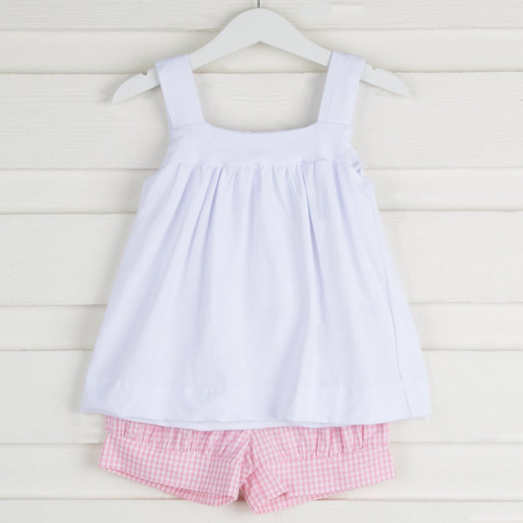 Amy Knit Short Set White and Pink Gingham