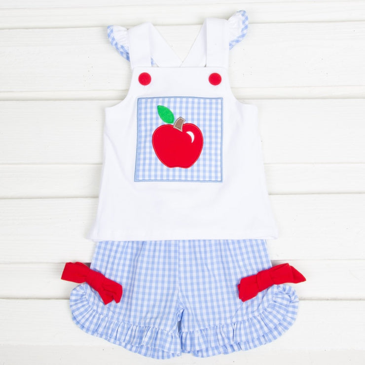 Apple Cross Back Short Set White and Blue Gingham