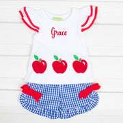 Apple Flutter Sleeve Short Set Royal Blue Gingham