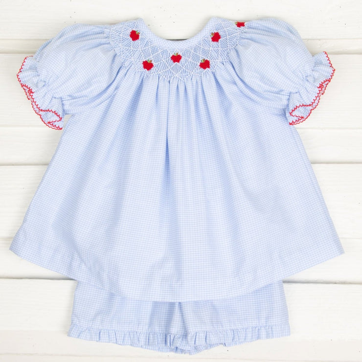 Apple Smocked Short Set Light Blue Gingham