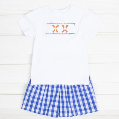 Baseball Smocked Short Set Royal Blue Check