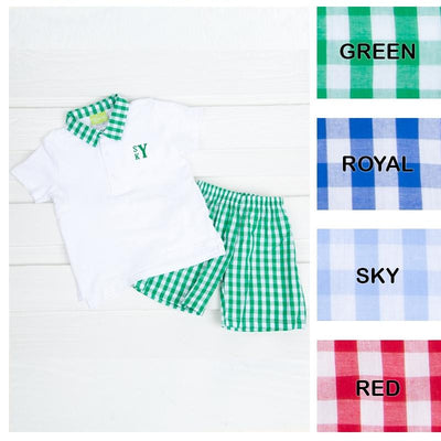 Boy Polo Short Set Check