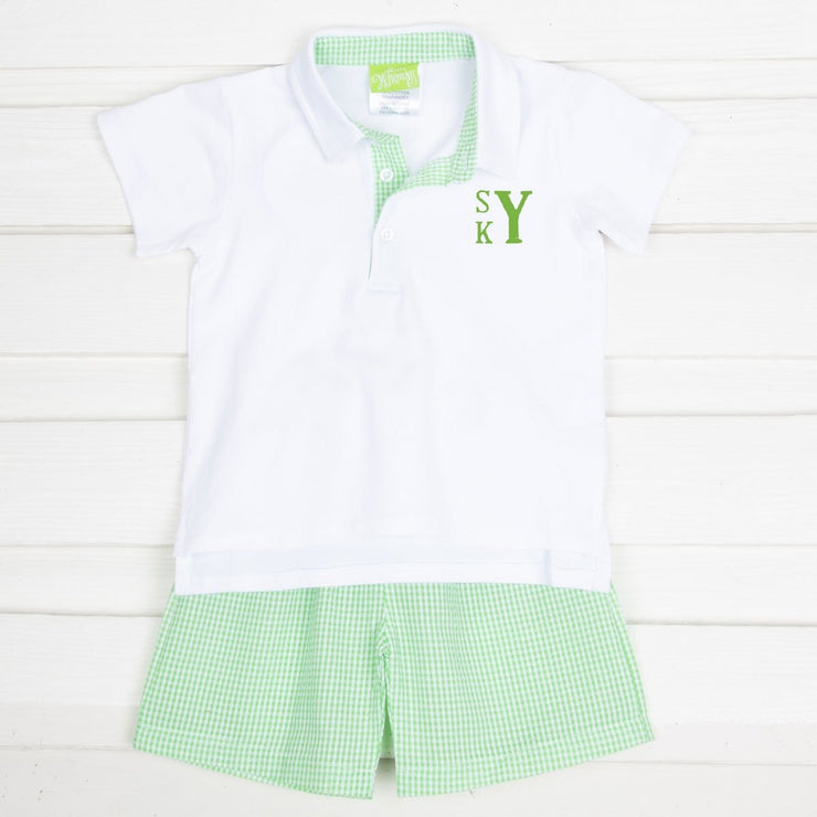 Boy Polo Short Set Green Gingham Seersucker