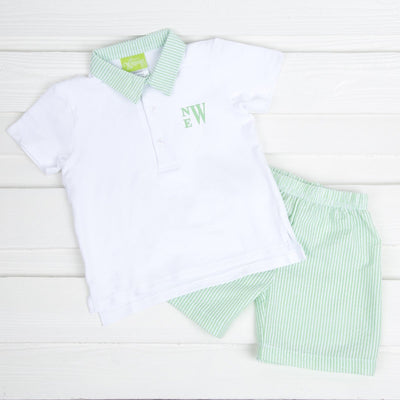 Boy Polo Short Set Green Seersucker