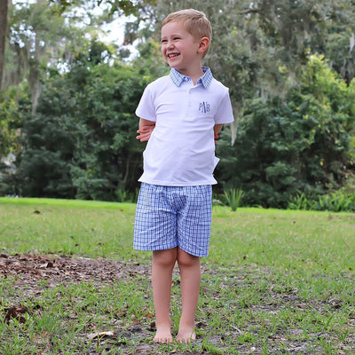 Boy Polo Short Set Two Toned Blue Plaid