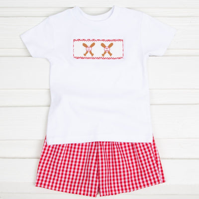 Boys Baseball Smocked Short Set Red Check