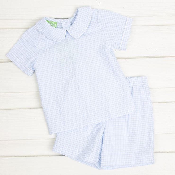 Boys Collared Short Set Blue Gingham Seersucker