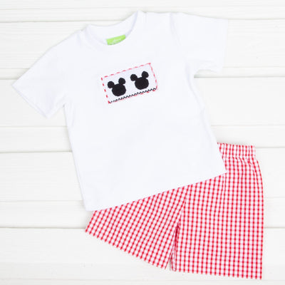 Boys Mouse Ears Smocked Short Set Red Check Seersucker