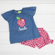 Chambray Apple Short Set Red Check