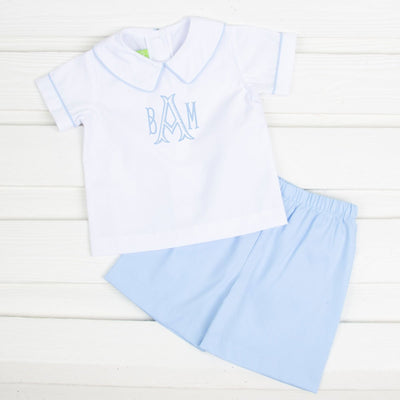 Collared Short Set Light Blue