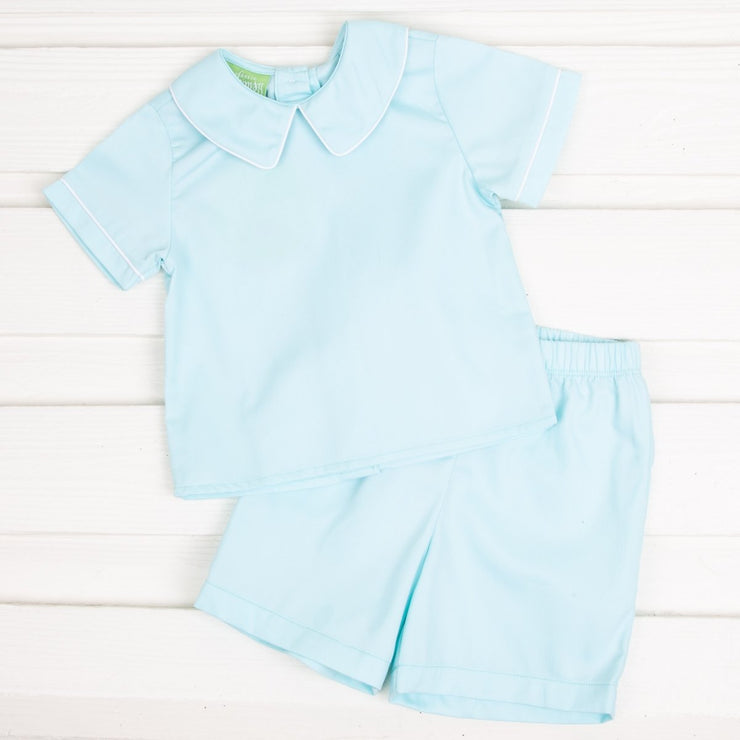 Collared Short Set Mint Pique