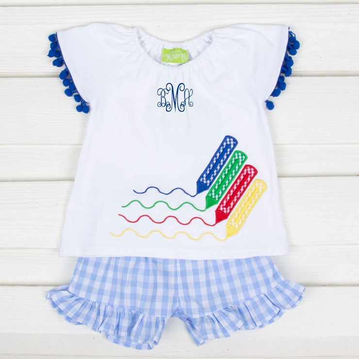 Crayon Applique Short Set White and Blue Gingham