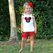 Cross Back Mouse Ears Short Set Red Polka Dot