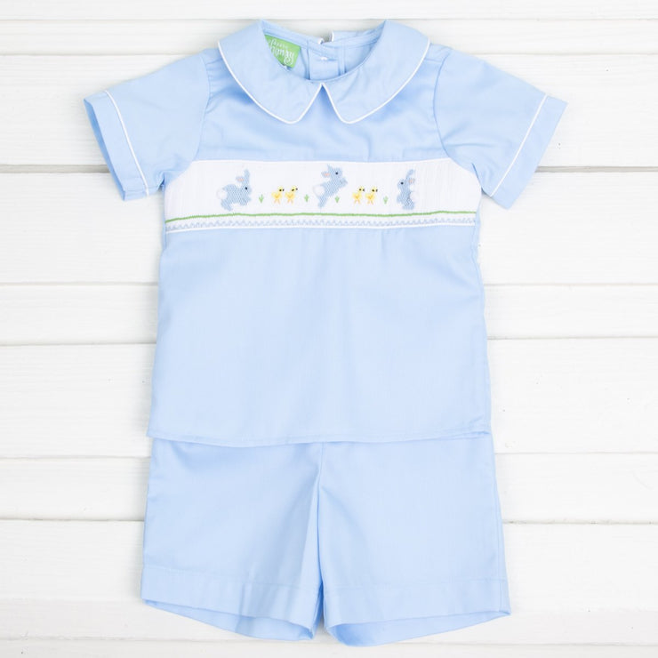 Easter Smocked Collared Short Set Blue Pique