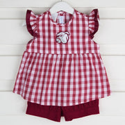 Embroidered Mississippi State Short Set Check