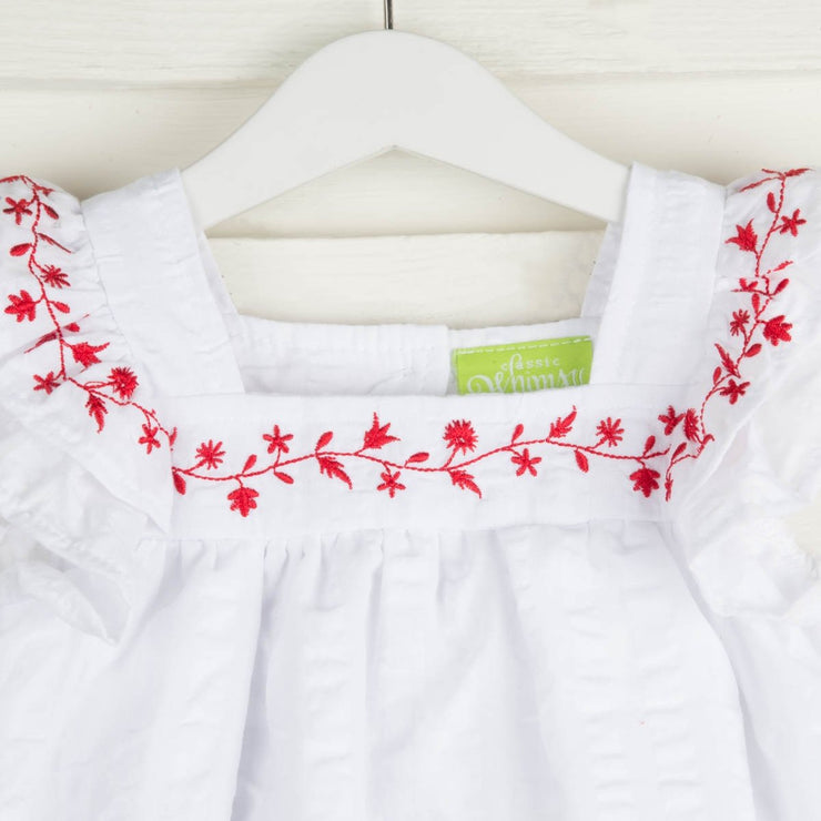 Embroidered Poppy Bloomer Short Set White Seersucker