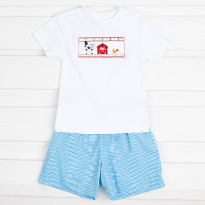 Farm Smocked Short Set Turquoise Gingham