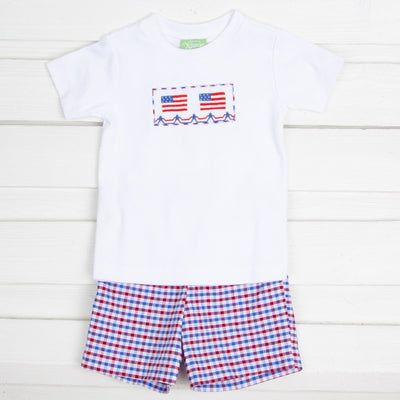 Flag Smocked Short Set Patriotic Plaid Seersucker