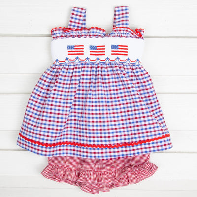 Flag Smocked Tie Back Short Set Patriotic Plaid