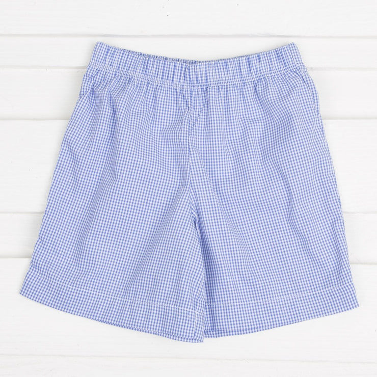 Football Smocked Short Set Royal Blue Gingham