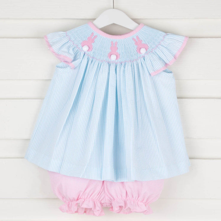 Girls Smocked Bunny Short Set Turquoise Stripe Seersucker