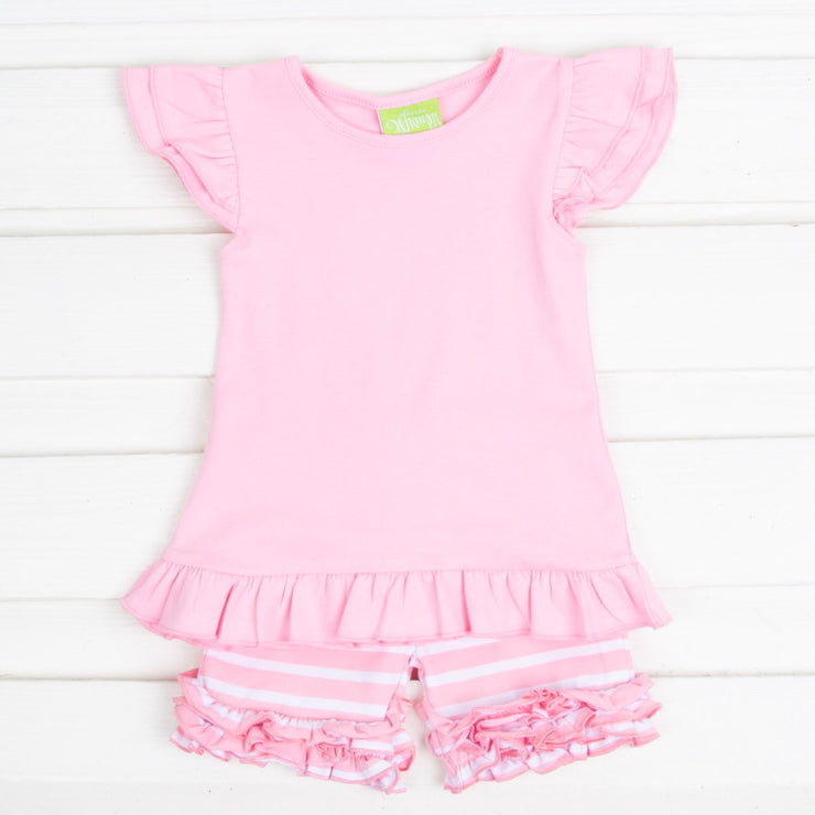 Light Pink Knit Ruffle Short Set