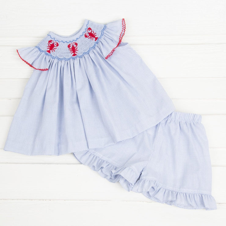 Lobster Smocked Short Set Blue Windowpane