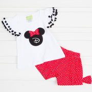 Mouse Ears Applique Short Set Red Polka Dot