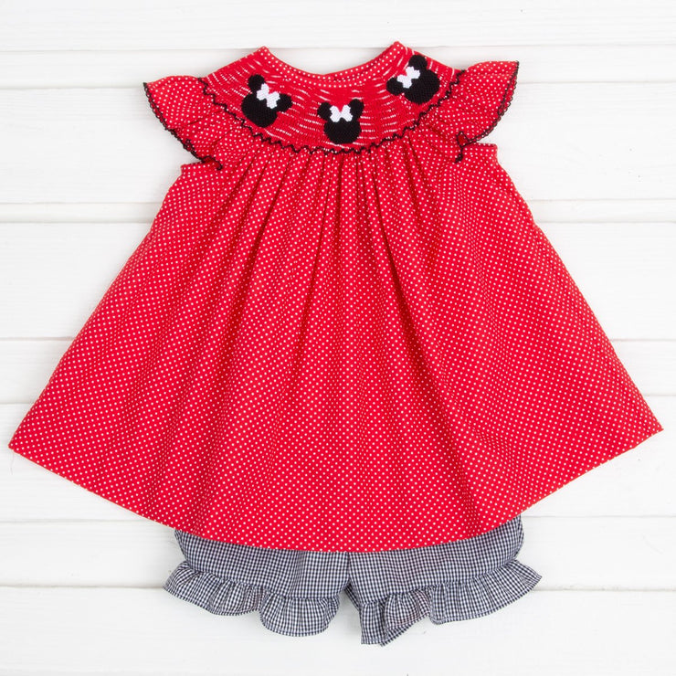 Mouse Ears Smocked Angel Sleeve Short Set Red and White Dot