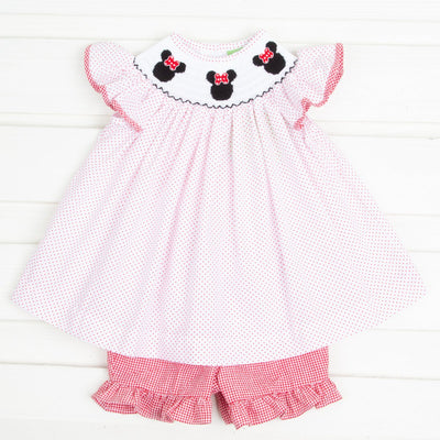 Mouse Ears Smocked Angel Sleeve Short Set Red Dot
