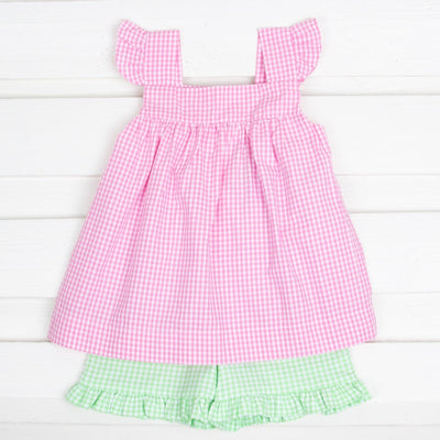 Petal Pink Amy Short Set Gingham