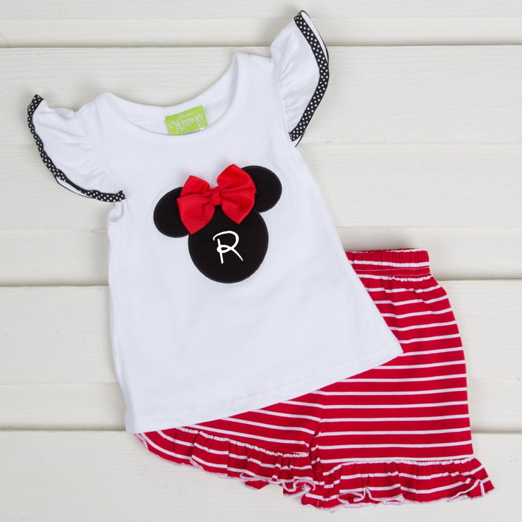 Red Mouse Ears Short Set Knit Stripe