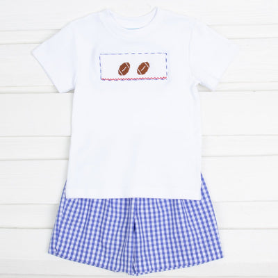 Royal Check Football Smocked Short Set