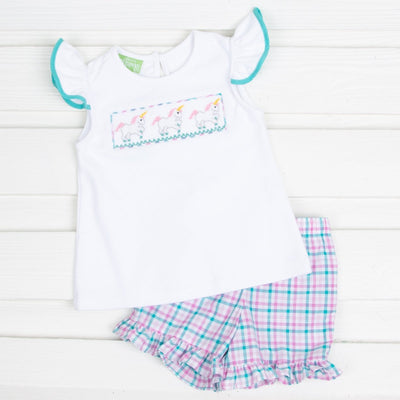 Ruffle Unicorn Smocked Short Set White and Pink Plaid