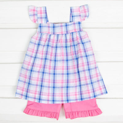 Seaside Plaid Amy Short Set Blue and Pink