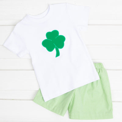 Shamrock Applique Boy Short Set Light Green Gingham
