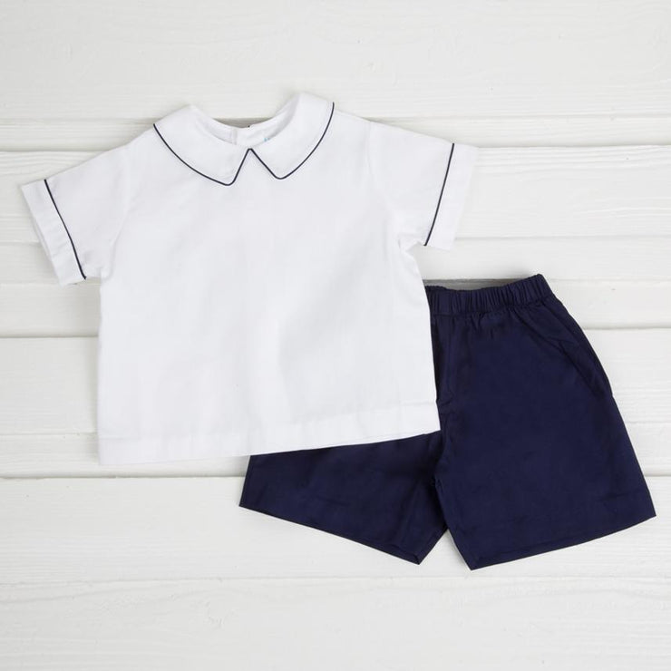 Short Set White and Navy Pique
