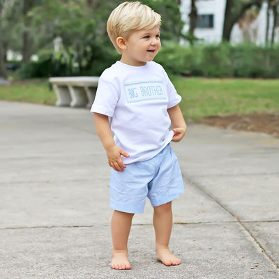 Smocked Big Brother Short Set Light Blue Gingham