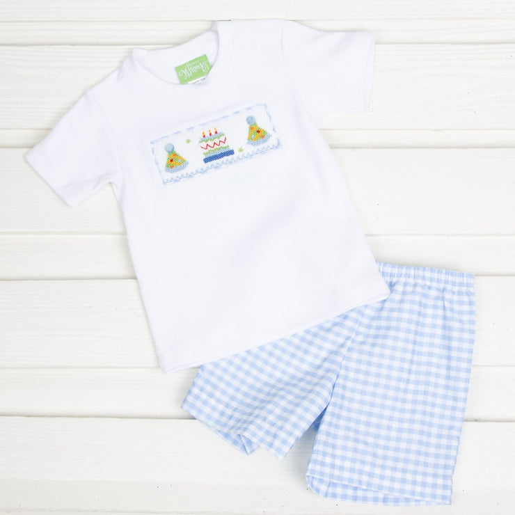 Smocked Birthday Party Short Set Light Blue Check