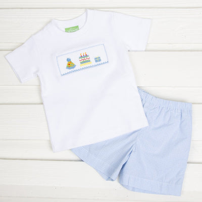 Smocked Birthday Short Set Light Blue Gingham