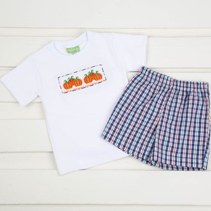 Smocked Pumpkins Boy Short Set Navy Plaid