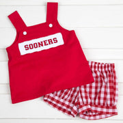 Smocked Sooners Spirit Short Set Red Check